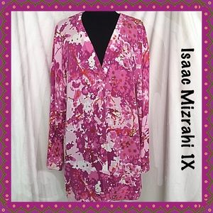 Isaac Mizrahi Live Pink Abstract Print Cardigan